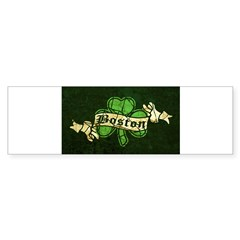 Retro Boston Shamrock Oval Sticker (Bumper)