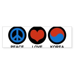 Peace Love Korea Rectangle Sticker (Bumper)