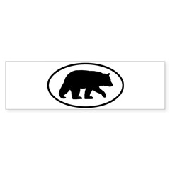 Black Bear Oval Sticker (Bumper)