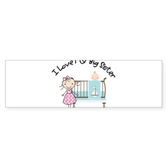 little brother big sister matching shirt Sticker (Bumper)