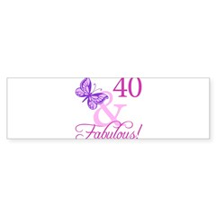 40 & Fabulous (Plumb) Sticker (Bumper)