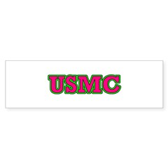 Hot Pink & Green USMC Sticker (Bumper)