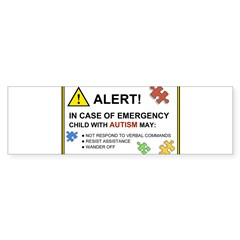 Autism Emergency Warning Sticker for Car Sticker (Bumper)