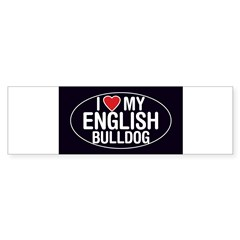 I Love My English Bulldog Oval Sticker/Decal Sticker (Bumper)