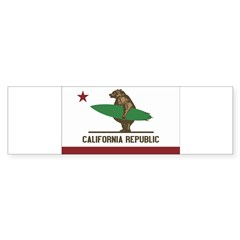 California Surfing Bear Flag Sticker (Bumper)
