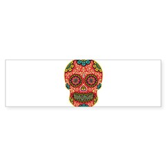 Red Sugar Skull Sticker (Bumper)