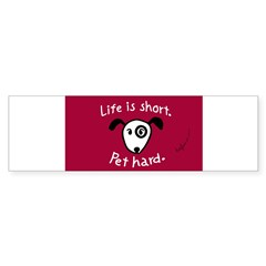 Pet Hard (Dog) Sticker (Red Oval) Sticker (Bumper)