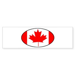 Canadian Flag Oval Sticker (Bumper)
