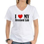 I Love My Rescued Lab Women's V-Neck T-Shirt