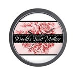 Pink Toile World's Best Mother Mom Wall Clock