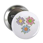"Pretty Mother's Day Cartoon Flowers 2.25"" Button ("
