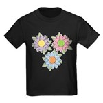 Pretty Mother's Day Cartoon Flowers Kids Dark T-Sh