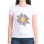 Purple Cartoon Flower Spring Jr. Ringer T-Shirt