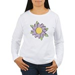 Purple Cartoon Flower Spring Women's Long Sleeve T