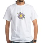 Purple Cartoon Flower Spring White T-Shirt