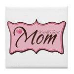 Pink World's Best Mom Plaque Tile Coaster