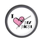 I Love Heart My Mom Mother's Day Wall Clock