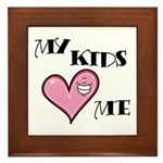 My Kids Love Heart Me Mom Teacher Framed Tile