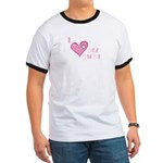 I Love Heart My Mom Mother's Pink Ringer T