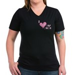I Love Heart My Mom Mother's Pink Women's V-Neck D
