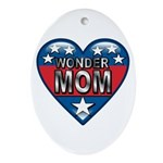 Heart Wonder Mom Mother's Oval Ornament