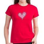Pink Heart Cartoon Smile Smiley Women's Dark T-Shi