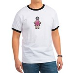 Pink Soccer Mom Cute Girl Art Ringer T