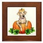 Yellow Labr-O-Lantern Framed Tile