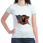 Chocolate Lab Flag Jr. Ringer T-Shirt