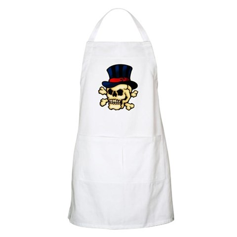 CafePress gt; Apron amp; Kitchen Aprons gt; Skull in Top Hat Tattoo Art BBQ Apron. Skull in Top Hat Tattoo Art BBQ Apron