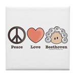 Peace Love Heart Beethoven Music Tile Coaster
