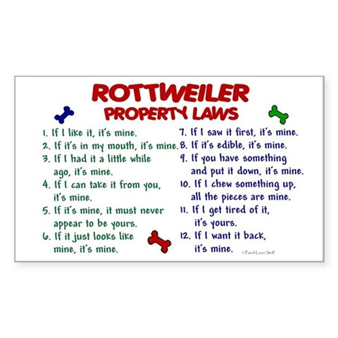 Rottweiler Property Laws 2 Sticker (Rectangular)