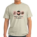 Pink Brown Peace Love Football Light T-Shirt