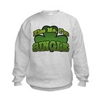 Kiss Me I'm Single Shamrock Kids Sweatshirt