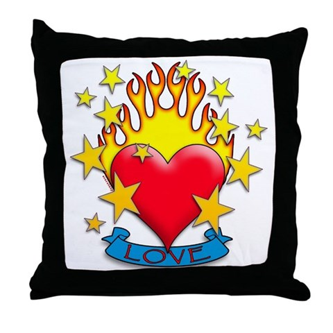 Bold flaming heart with the word LOVE in a tattoo inspired design.