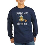Nurses Are Bee-utiful Long Sleeve Dark T-Shirt