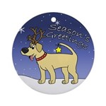 Reindeer Yellow Lab Ornament (Round)