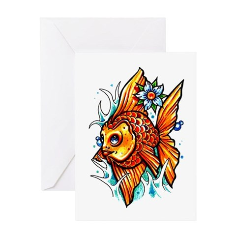 Goldfish Fish Tattoo Greeting Card