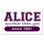 Alice, Quirkier Than You. Rectangle Sticker
