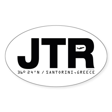 Santorini Greece JTR Black Des. Oval Sticker