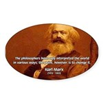Power of Change Karl Marx Oval Sticker