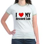 I Love My Rescued Lab Jr. Ringer T-Shirt