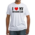 I Love My Rescued Lab Fitted T-Shirt