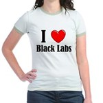 I Love Black Labradors Jr. Ringer T-Shirt