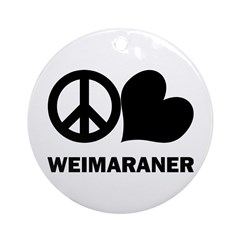Peace Love Weimaraner Ornaments