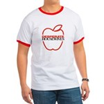 Red Apple Outline Ringer T