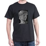 David with Michelangelo Quote Black T-Shirt