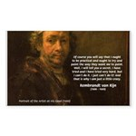 Renbrandt Self Portrait & Quote Sticker (Rectangul