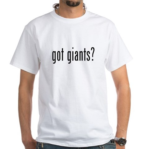 blank white tee. got giants lank on backs
