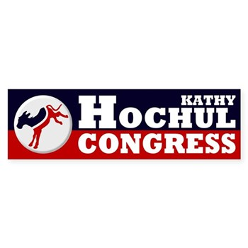 Re-Elect Kathy Hochul to Congress Bumper Sticker with a kicking donkey design